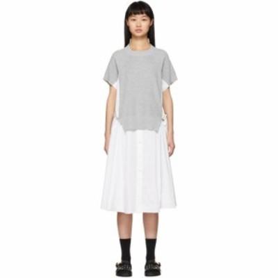 サカイ Sacai レディース ワンピース ワンピース・ドレス White Knit Panel Dress Black
