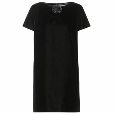 イヴ サンローラン Saint Laurent レディース ワンピース ワンピース・ドレス Leather-trimmed velvet minidress Noir