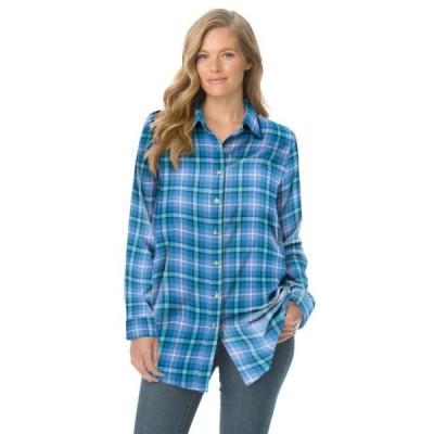 レディース 衣類 トップス Woman Within Women's Plus Size Classic Flannel Shirt ブラウス&シャツ