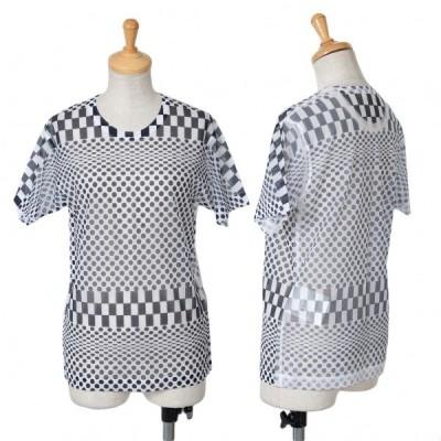 コムデギャルソンCOMME des GARCONS チェッカードットプリントシースルーTシャツ 白黒M位 【レディース】