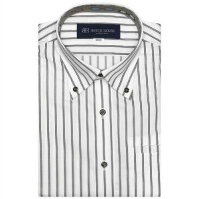 ブリックハウス(BRICKHOUSE)/形態安定 ノーアイロン 半袖ワイシャツ  ポケクロ ボタンダウン 白×黒ストライプ