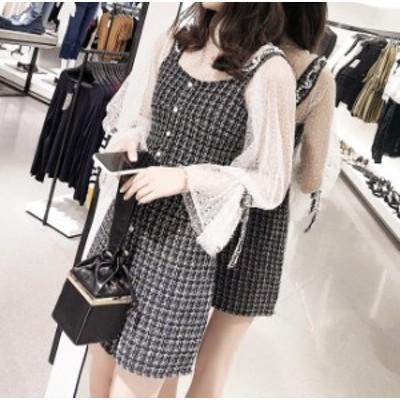 韓国 ファッション レディース ワンピース セットアップ ツイード ブラウス ジャンパースカート ミニ丈 秋冬 タイト 大きいサイズ セクシ