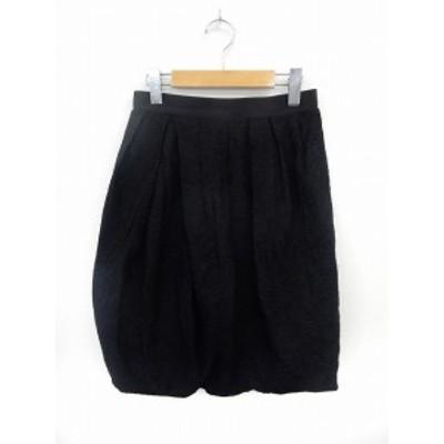 【中古】デュアルヴュー DUAL VIEW スカート 膝丈 総柄 バルーンスカート バックジップ 40 ブラック /ST22 レディース