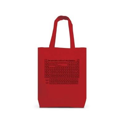 化学Tシャツ:元素周期表(ディジタル):原子番号_黒 トートバッグM(レッド)