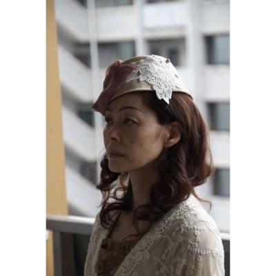 プリン型のトーク帽 レディース帽子 オールシーズン シルク100% ベージュ 手作り帽子