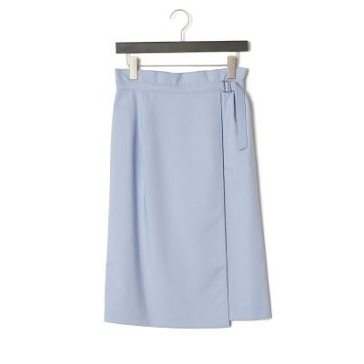 アシンメトリー ラップタイトスカート ブルー 38