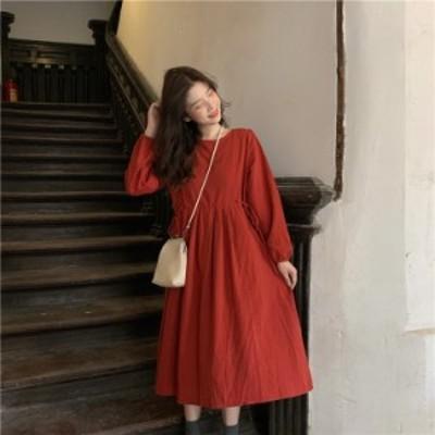 ワンピース 長袖 ふんわり ガーリー 2way 前後 ミモレ丈 カジュアル 韓国ファッション 大人可愛い