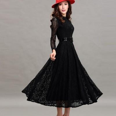 ドレス ワンピース シースルー Aライン ウエストベルト スリム 大人女子 エレガント キュート オシャレ フェミニン DR-006AU