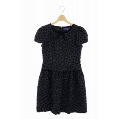 【中古】エムズグレイシー M'S GRACY ワンピース ドレス 膝丈 半袖 パフスリーブ 38 黒 ブラック /ES ■OS レディース