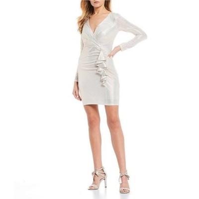 シークインハーツ レディース ワンピース トップス Long Sleeve Foiled-Knit Ruffle Dress