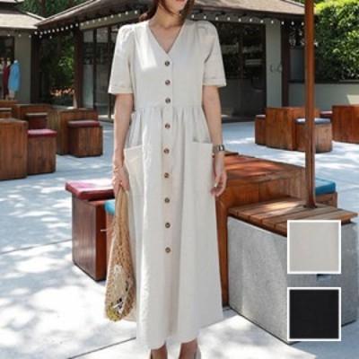 韓国 ファッション レディース ワンピース 夏 春 カジュアル naloI688  リネン風 ゆったり ギャザー フロントボタン シンプル コーデ 定