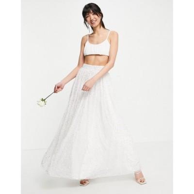 エイソス ASOS EDITION レディース スカート Bridal Embellished Full Skirt In White ホワイト
