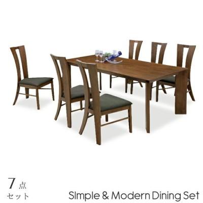 ダイニング7点セット 幅180cm ダイニングテーブル ダイニングチェアー6脚セット 木製 食卓7点セット 6人掛け 6人用 ブラウン