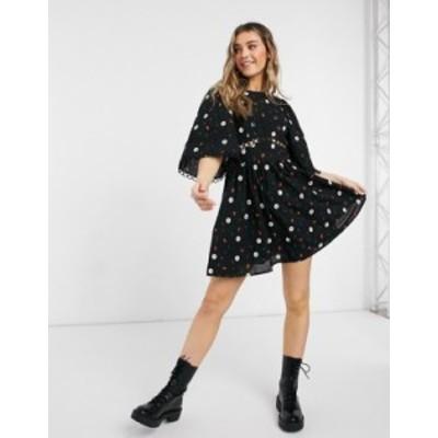 エイソス レディース ワンピース トップス ASOS DESIGN all over embroidered mini skater dress with lace trim in black Black