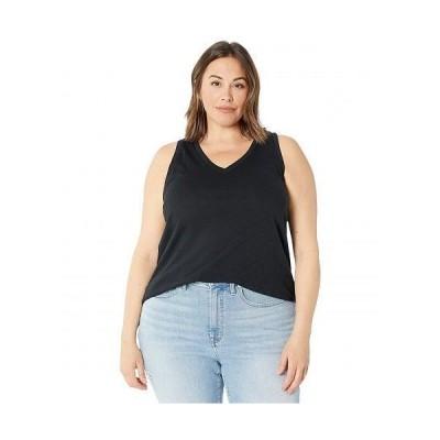 Madewell レディース 女性用 ファッション トップス シャツ Plus Whisper Cotton V-Neck Tank - True Black