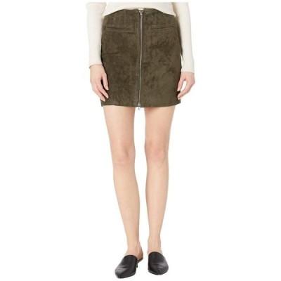 ブランクニューヨーク レディース スカート ボトムス Real Suede Skirt with Zipper Detail in Olive Green