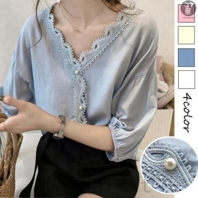 刺繍ブラウスレース刺繍Vネックレディースシャツ透け感トップスパフスリーブ透かし彫り代引不可