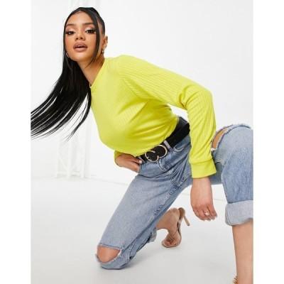 ユニーク21 レディース ニット&セーター アウター Unique21 stripe textured sweater in yellow Yellow