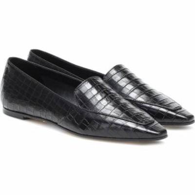 アイデ Aeyde レディース スリッパ シューズ・靴 aurora croc-effect leather loafers Black