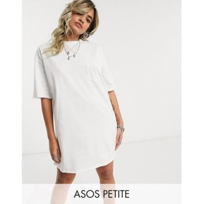 エイソス ASOS Petite レディース ワンピース ポケット Tシャツワンピース ASOS DESIGN Petite oversized t-shirt dress with pocket detail in white ホワイト