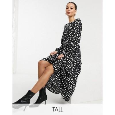 ニュールック New Look Tall レディース ワンピース Aライン ワンピース・ドレス Long Sleeve Tiered Midi Dress In Black Spot Print ブラック
