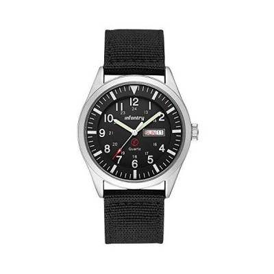 InfantryメンズMilitary軍アナログWatchフィールドTactical Sport Wrist Watches for Menブラックナイロンストラップ日日付 Silve