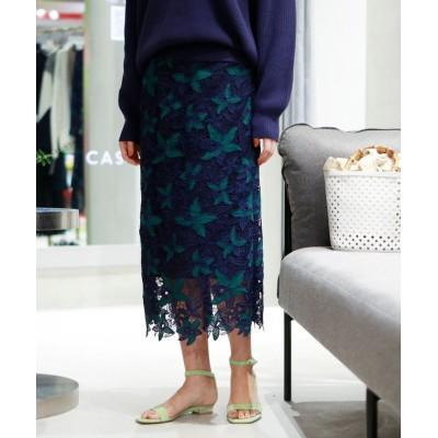 【キャスト】 カラーレースタイトスカート レディース グリーン5 S CAST: