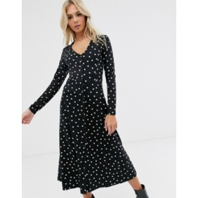 ニュールック レディース ワンピース トップス New Look smock maxi dress in black and white polka dot Black pattern