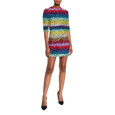 アリス アンド オリビア レディース ワンピース トップス Inka Sequined Strong-Shoulder Mock-Neck Dress