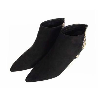 【中古】ランダ RANDA CAMILLE BIS ショートブーツ ブーティ 靴 フェイクスウェード ポインテッドトゥ レオパード柄