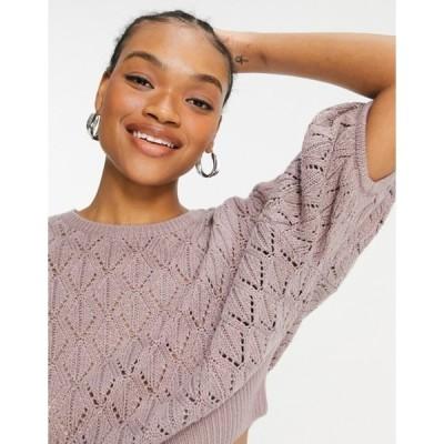 ネイティブユース レディース ニット・セーター アウター Native Youth pointelle cropped knitted top in mauve