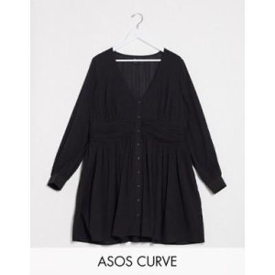 エイソス レディース ワンピース トップス ASOS DESIGN Curve crinkle button through mini tea dress with ruched waist Black