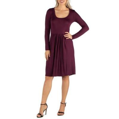 24セブンコンフォート レディース ワンピース トップス Women's Knee Length Pleated Long Sleeve Dress