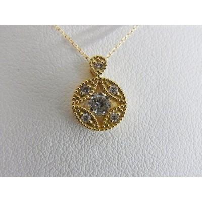 K18 0.20ctダイヤ 丸型ペンダントネックレス