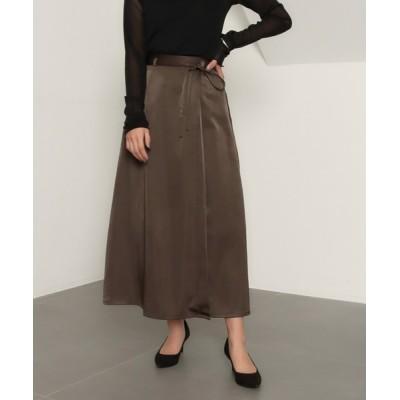 スカート 【低身長向けサイズ】サテンマキシラップスカート
