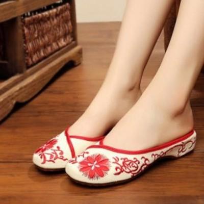 2点送料無料 レディースシューズ 刺繍靴 婦人靴 中国風ボタン/民族風 カジュアル シューズ 太極拳 通気性 ブーツ 綿麻靴/チャイナ靴 手作