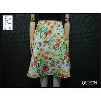 KUMIKYOKU 素敵な花柄スカート・3△組曲/ひざ丈スカート/フラワー/白ベース¨