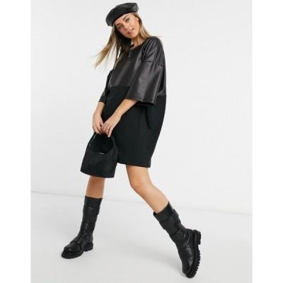 エイソス レディース ワンピース トップス ASOS DESIGN oversized T-shirt dress with half leather look in black Black