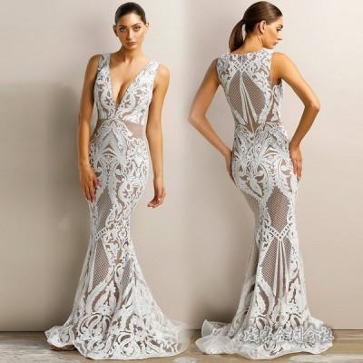 Vネック ノースリーブ ワンピース ウェディングドレス イブニングドレス ロングドレス 演奏会 カラードレス 二次会 花嫁 結婚式 パーティードレス お呼ばれ