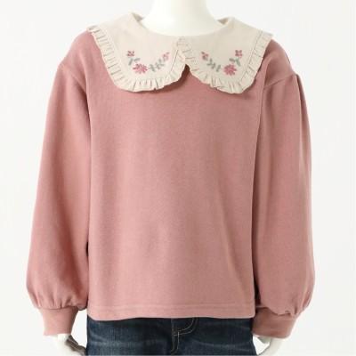 ビッグカラー刺繍長袖スウェットシャツ【女の子 ベビー・子供服】(coto cotte)