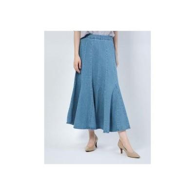 ジーラ GeeRA 【WEB限定】デニムソフトマーメードスカート (ブルー)