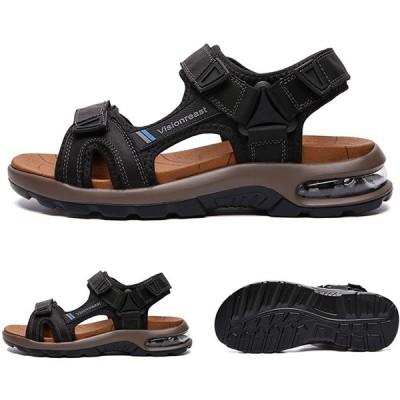 visionreast メンズ スポーツサンダル エアークッション 幅広 アウトドアサンダル 歩きやすい 本革 厚底 かかとあり ビーチサン