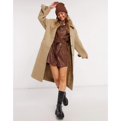 エイソス レディース コート アウター ASOS DESIGN belted overcoat in camel