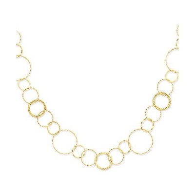 14k Yellow Gold Combo Circle Chain Necklace 18 Inch Pendant Charm Link Fancy Geometric Shape Fine Jewelry For Women Gifts For Her【並行