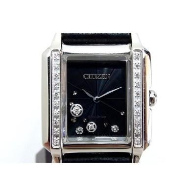 CITIZEN シチズン  エル エコドライブ スクエアコレクション 24Pダイヤモンド レディース腕時計 黒文字盤 EG7061-15E
