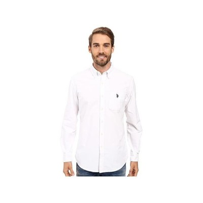 U.S. POLO ASSN. Long Sleeve Classic Fit Solid Oxford Cloth Button Down Sport Shirt メンズ シャツ トップス Optic White