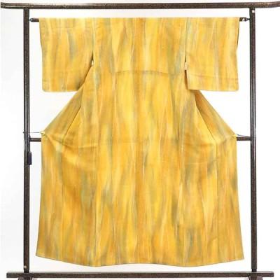 リサイクル着物 小紋 正絹黄色ぼかし袷小紋着物
