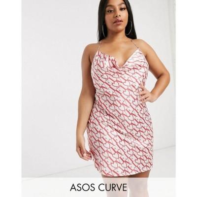 エイソス ASOS Curve レディース ワンピース ミニ丈 ワンピース・ドレス ASOS DESIGN Curve printed cowl neck mini slip マルチカラー