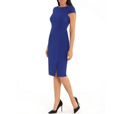 ドナモーガン レディース ワンピース トップス Boat Neck Cap Sleeve Knitted Crepe Sheath Dress Blue Sapphire