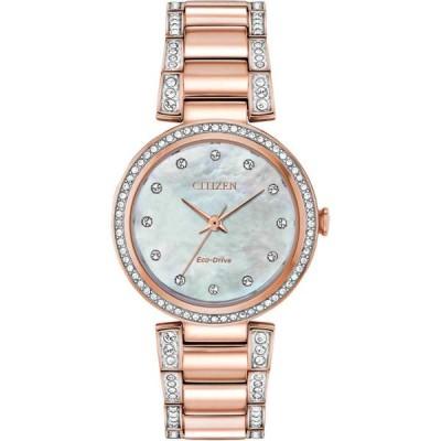 シチズン 腕時計 Citizen レディース Watch Silhouette Crystal White ホワイト MOP Dial Bracelet EM0843-51D
